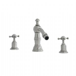 3766 Perrin & Rowe Three Hole Bidet Mixer Tap With Country Spout Crosshead